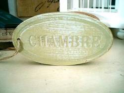 """Plaque de porte campagnarde """"Chambre"""" en bois lazuré"""