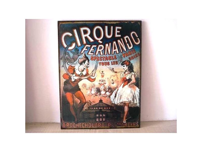 "Plaque publicitaire rétro ""Cirque Fernando"""