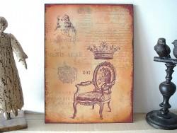 Plaque décorative ornée d'une fauteuil ancien