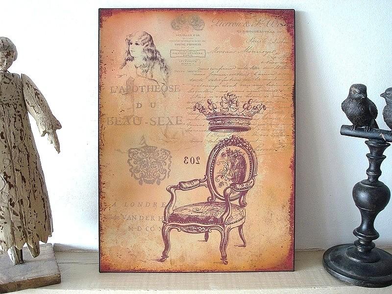 Plaque décorative ornée d'une fauteuil rétro