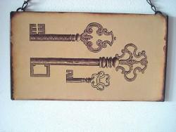 Plaque décorative métal aux clés anciennes style rétro