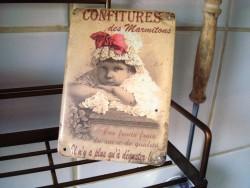 """Mini plaque publicitaire vintage """"Confitures des Marmitons"""""""