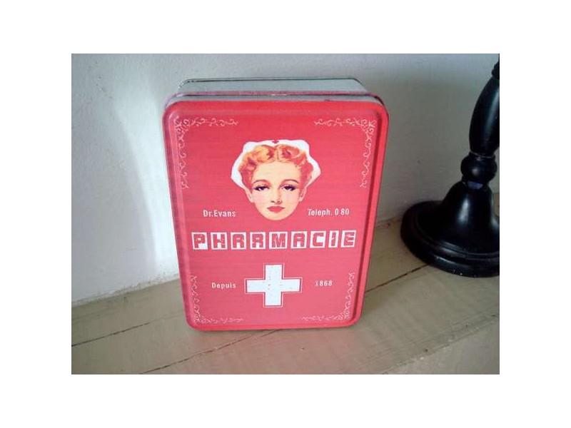 """Petite boîte en métal """"Pharmacie"""", style vintage"""