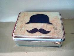 Boîte en métal rétro au décor moustache style rétro