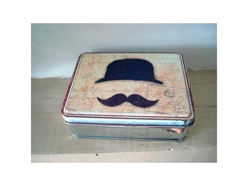 Boîte en métal rétro ornée d'une moustache
