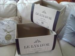 """Set de 2 boîtes de rangement """"Le lys d'or"""" style rétro"""