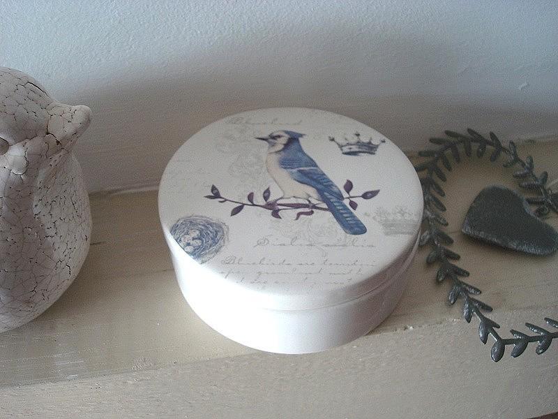 Boîte à bijoux à l'oiseau bleu en céramique ambiance champêtre