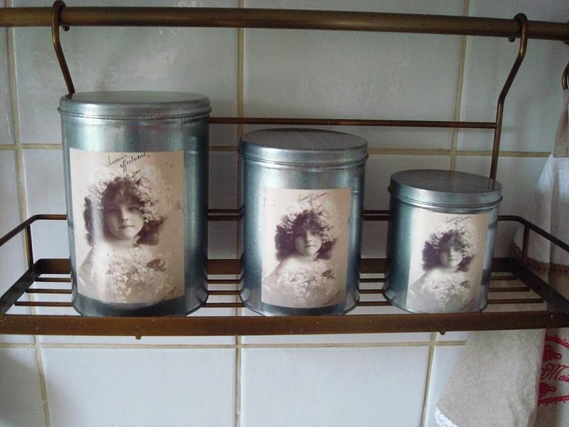 Set 3 boîtes de rangement en métal couleur zinc au médaillon fillette style cosy