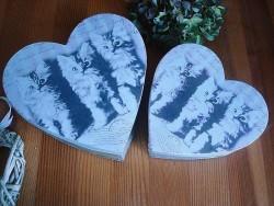 Duo de boîtes en forme de coeurs au décor chatons