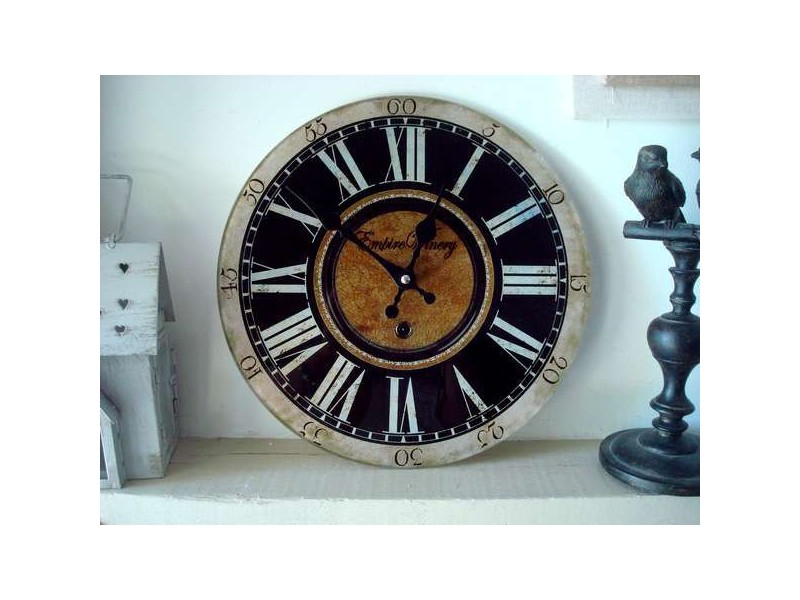 "Horloge murale ronde ""Empire Winery"" déco rétro"