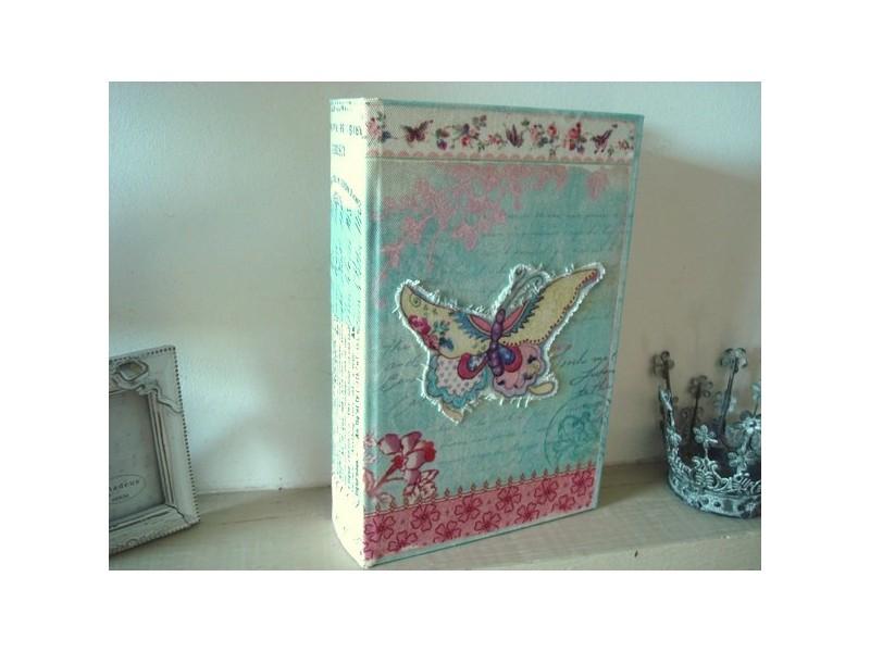 Boîte en forme de livre au décor papillon, déco cosy