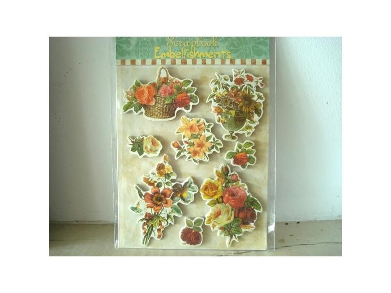 Pochette de 16 stickers vintage au décor fleuri