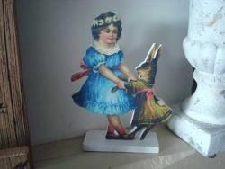 Décoration fillette en robe bleue et lapin style cosy