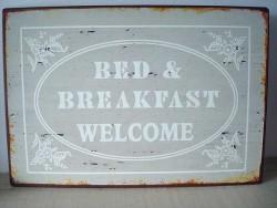 """Plaque décorative rétro """"B & B"""" et """"Welcome"""" grise"""
