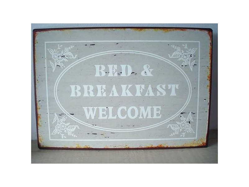 "Plaque décorative murale ""B & B"" ""Welcome"" grise"