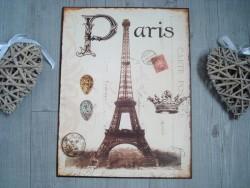 """Plaque murale rétro """"Paris"""" au décor Tour Eiffel"""