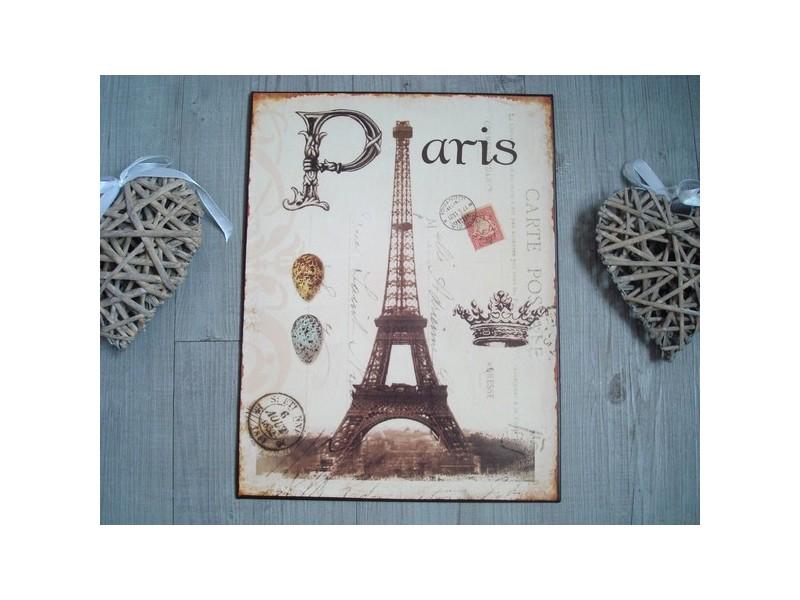 """Plaque décorative rétro """"Paris"""" décor Tour Eiffel"""