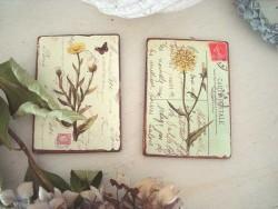 Duo de magnets aux fleurs jaunes style champêtre