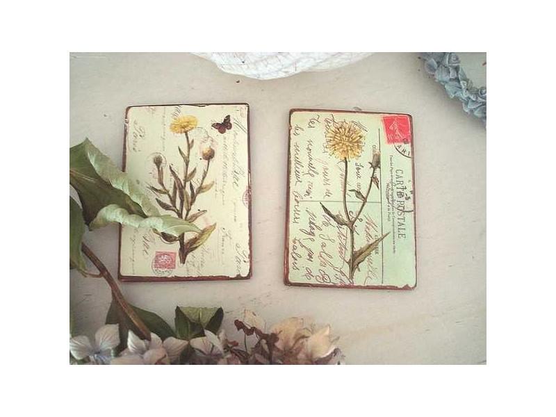 Duo de magnets aux fleurs jaunes ambiance campagne