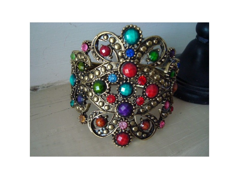 Bracelet baroque fantaisie perles multicolores