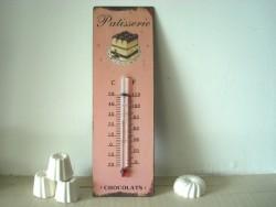 """Thermomètre mural vintage rose poudré """"Pâtisserie"""""""