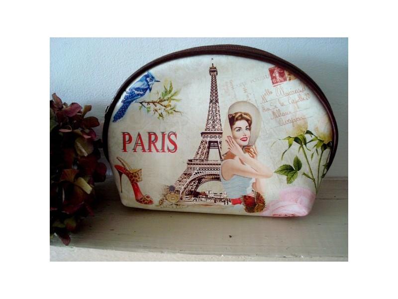 """Trousse à maquillage vintage """"Tour Eiffel"""" style années 50"""