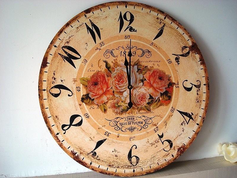 Grande horloge murale roses de parfum - Tres grande horloge murale ...