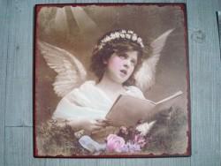 Plaque métallique à l'ange rétro style Gustavien