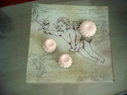Vide poche en verre au décor d'ange style gustavien