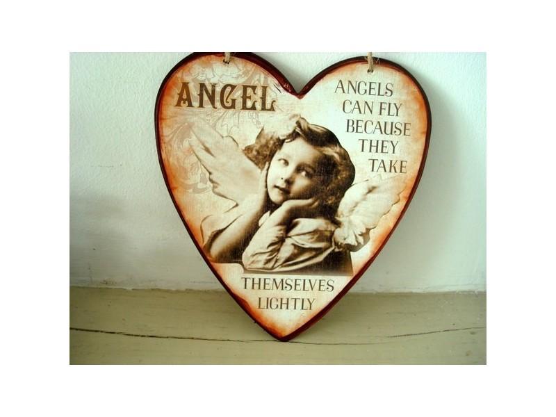 Suspension coeur en métal ange et fillette style cosy sépia