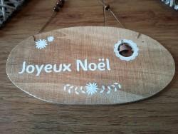 """Petite pancarte ovale en bois naturel """"Joyeux Noël"""""""