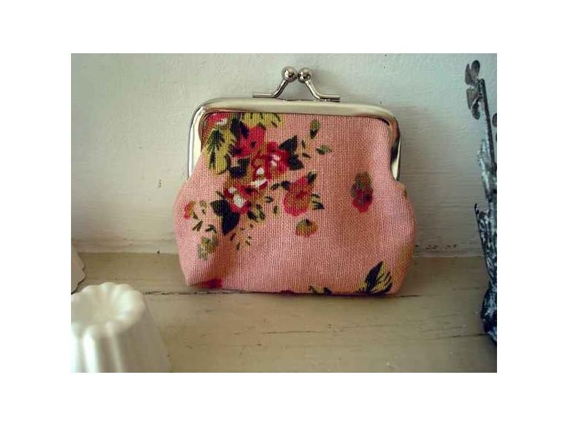 Petit porte monnaie de couleur rose à fleurs, accessoire de mode fantaisie