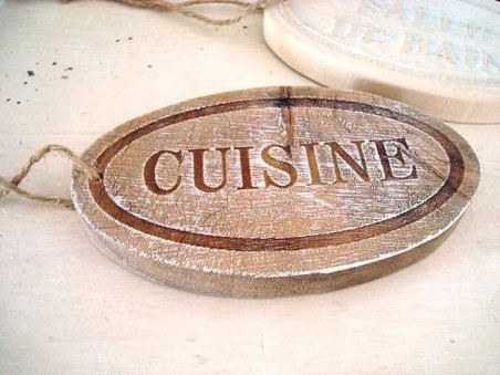"""Plaque de porte """"Cuisine"""" en bois style campagne"""