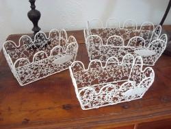 Set de 3 corbeilles campagne fil de fer blanc