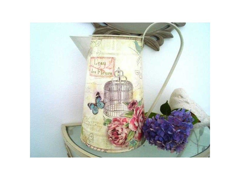 """Broc champêtre """"L'eau des fleurs"""" imprimé cage"""