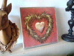 Tableau décoratif champêtre au coeur à la couronne de feuillage