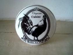 Bouton de meuble en porcelaine au décor coq