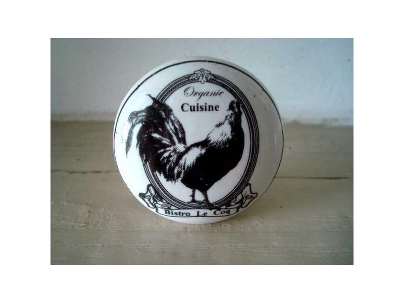 Bouton de meuble en porcelaine au décor coq déco campagne