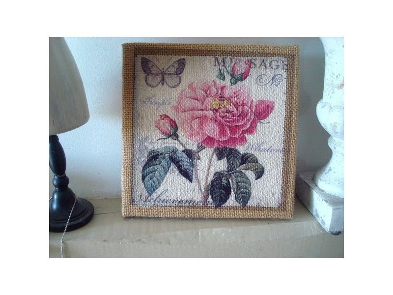 Tableau en toile de jute orné d'une rose ambiance cosy