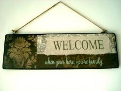 """Panneau décoratif champêtre """"Welcome"""""""