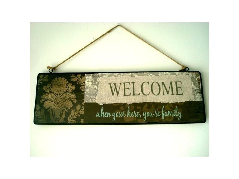 """Panneau champêtre en bois """"Welcome"""""""