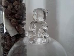 Cloche en verre sur pied décor ourson
