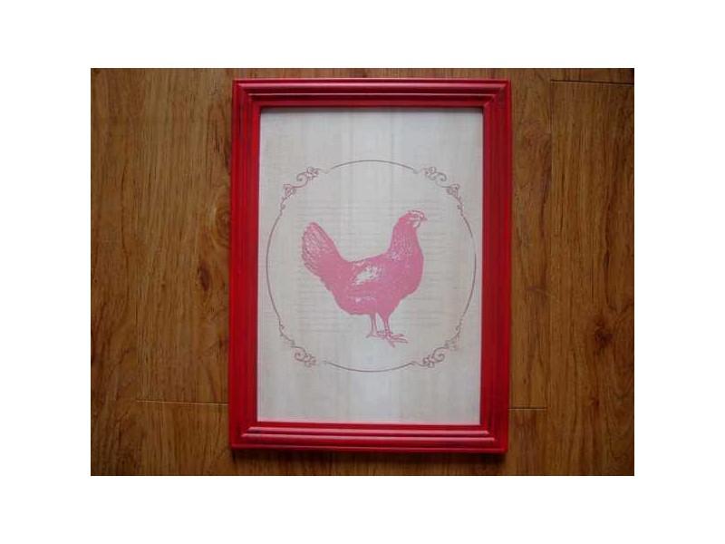 Cadre déco en bois décor poule rouge ambiance campagne