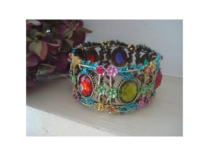 Bracelet manchette vintage perles à facettes multicolores