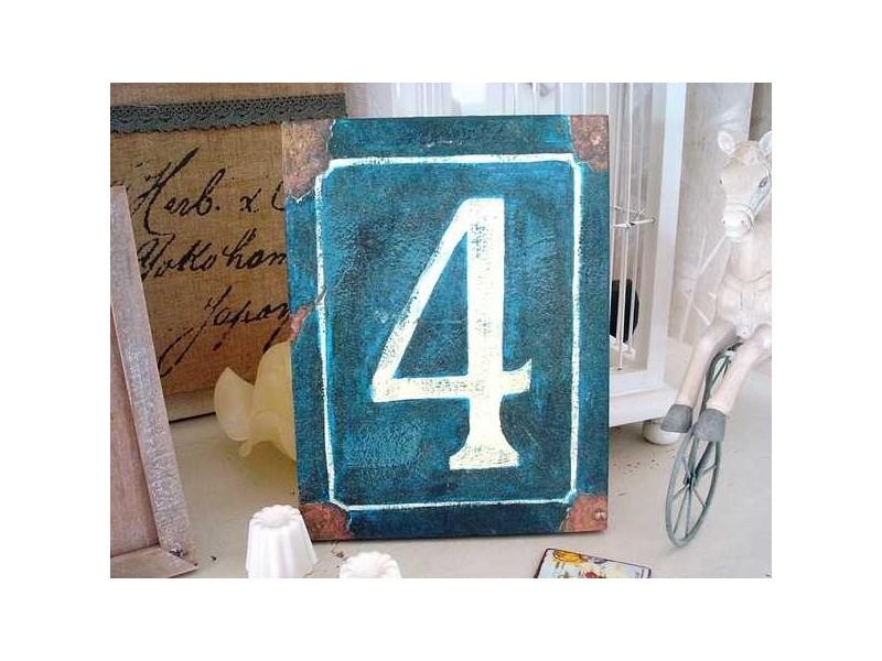 """Plaque bois """"N° 4"""" façon plaque de rue ancienne"""