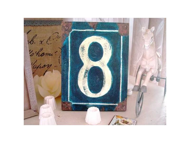 """Plaque bois """"N° 8"""" façon plaque de rue ancienne"""