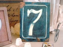 """Plaque bois """"N° 7"""" façon plaque de rue rétro"""