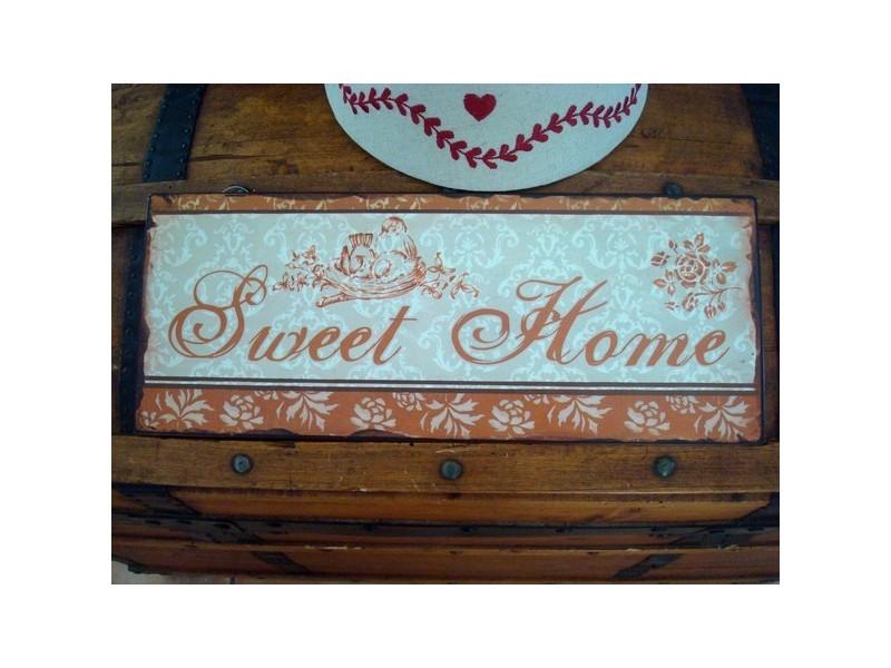 """Plaque décorative """" Sweet Home"""" style rétro"""