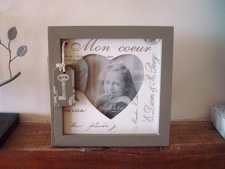 "Cadre photo original en bois ""Mon Coeur"", style cosy"
