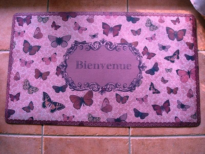 """Tapis de sol déco, """"Bienvenue"""" et papillons ambiance campagnarde"""